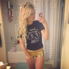 amazingly cute blonde in sexy gold shorts #amazing #cute #blonde