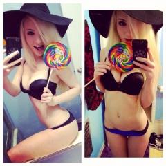 pretty and cute blonde teases using a colorful lollipop #pretty #cute #blonde